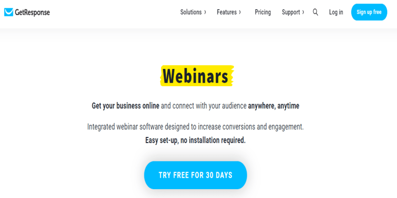 GetResponse: Top webinar software