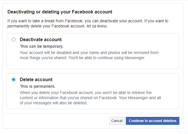 Continue to account deletion
