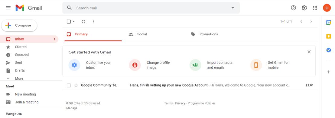 created gmail account