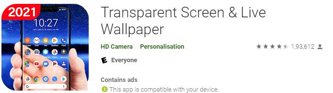 Transparent screen and live wallpaper
